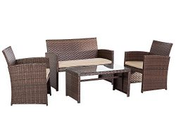 Suncrown 4-Piece Patio Conversation Sets Outdoor Resin Wicker Furniture with Weather Resistant C ...