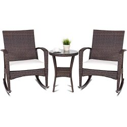 TANGKULA 3PCS Outdoor Patio Wicker Rattan Rocker Chairs and Side Table Set Rocking Sofa W/Cushio ...