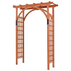 Giantex 85″ Wood Arbor Arch Outdoor Trellis Pergola Providence Arbor for Climbing Plants B ...