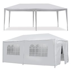 Smartxchoices 10′ x 20′ Outdoor White Waterproof Gazebo Canopy Tent with 6 Removable ...