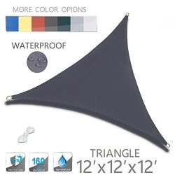 Love Story 12′ x 12′ x 12′ Triangle Charcoal Waterproof Sun Shade Sail Perfect ...
