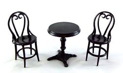 Falcon Miniatures Dolls House Miniature Wrought Iron Patio Cafe Bistro Set Table & Chairs