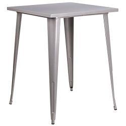 "Flash Furniture 31.5"" Square Silver Metal Indoor-Outdoor Bar Height Table"