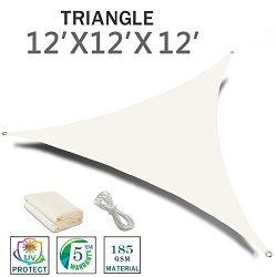 SUNNY GUARD 12′ x 12′ x 12′ Cream Triangle Sun Shade Sail UV Block for Outdoor ...