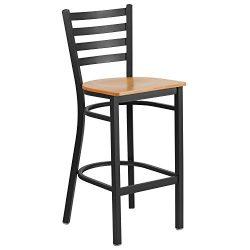Flash Furniture HERCULES Series Black Ladder Back Metal Restaurant Barstool – Natural Wood ...
