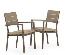 Solaura 2 Piece Dining Side Chair – Steel Powder Coated Frame Patio Chair & Neutral Be ...