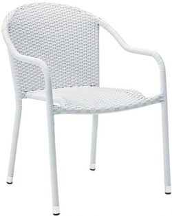 Crosley Furniture Palm Harbor Outdoor Wicker Stackable Chairs – White (Set of 2)