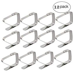 TLBTEK 12 pcs Decorative Stainless Steel Picnic Tablecloth Clamps Clips to Hold Tablecloth in Pl ...