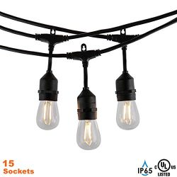 Modvera Outdoor String Light 48FT with 15 Sockets and LED 2W S14 Bulbs, UL Listed Waterproof &#8 ...