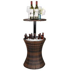Super Deal 3in1 All-Weather Wicker Bar Table + Ice Bucket + Cocktail Coffee Table All in One, Ra ...