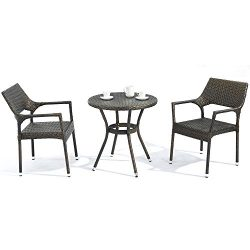 D+ Garden 3-Piece Bistro Table Set for Patio Balcony and Pub, Resin Wicker, Aluminum Frame, Dark ...