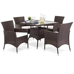 Best Choice Products 5-Piece Indoor Outdoor Wicker Patio Dining Set Furniture w/Square Glass Top ...