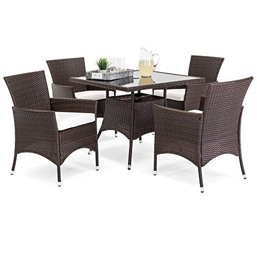best choice products 5 piece indoor outdoor wicker patio dining set furniture w square glass top. Black Bedroom Furniture Sets. Home Design Ideas
