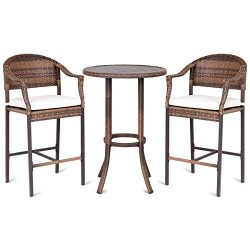 TANGKULA Patio Bar Set 3-Piece Wicker Rattan All Weahter Durable Poolside Balcony Garden Furnitu ...
