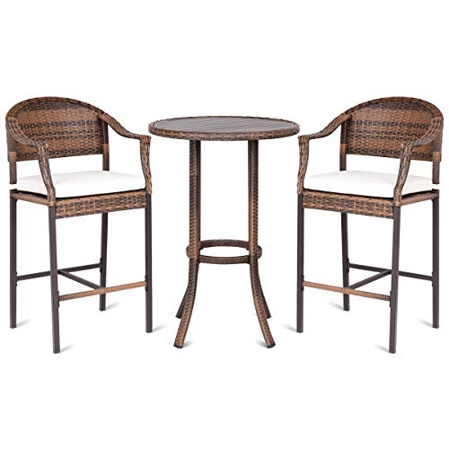 Tangkula Patio Bar Set 3 Piece Wicker Rattan All Weahter