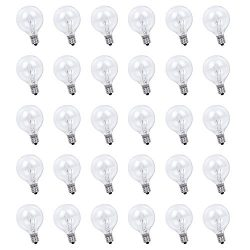 30 Pack String Lights G40 Replacement Bulb Set, 120V 7W Clear Outdoor Patio Bistro Light Bulbs