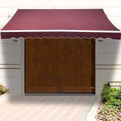 Uenjoy 10′ x 8′ Patio Awning Manual Retractable Window Door Outdoor Sunshade, Wine Red