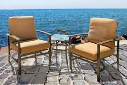 Bruce Furniture Patio Bistro Set, 3-Piece Outdoor Furniture with Two Cushioned Chairs & Glas ...