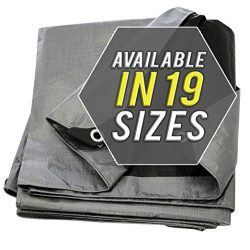 Tarp Cover 8X10 Silver/Black 2-Pack Extremely Heavy Duty 20 Mil Thick Material, Waterproof, Grea ...