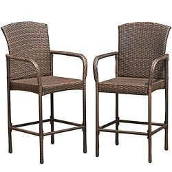 TANGKULA Set of 2 Patio Bar Stools Indoor Outdoor Use Wicker Rattan Barstool with Footrest for G ...