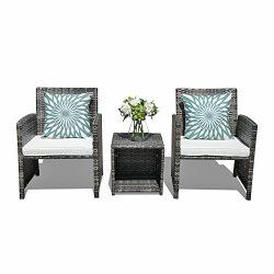 Orange Casual Outdoor 3-Pieces Patio Wicker Rattan Bistro Style Patio Furniture Sets Coffee Tabl ...