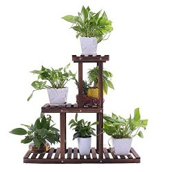 Ufine Wood Plant Stand Outdoor Indoor 3 Tier Vertical Carbonized Multiple Planter Holder Flower  ...
