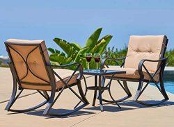 Solaura Rocking Bistro Set 3-Piece Black Steel Outdoor Furniture with Beige Cushion & Glass  ...