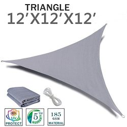 SUNNY GUARD 12′ x 12′ x 12′ Sliver Triangle Sun Shade Sail UV Block for Outdoo ...