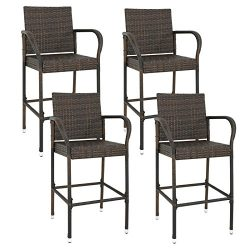 ZENY Wicker Barstool All Weather Dining Chairs Outdoor Patio Furniture Wicker Chairs Bar Stool w ...
