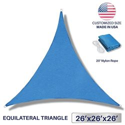 Windscreen4less 26′ x 26′ x 26′ Sun Shade Sail Canopy in Ice Blue Commercial G ...