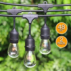 2-Pack 48Ft Heavy Duty Outdoor Patio String lights, Edison Vintage Dimmable 11S14 Bulbs w/ Hangi ...