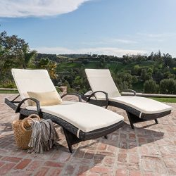 Olivia Patio Furniture ~ Outdoor Wicker Chaise Lounge Chair with Arms with Off-White Cushion (Se ...