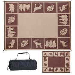 Reversible Mats 229127 9′ x 12′ Outdoor Patio/RV Camping Wilderness Hunter (Brown/Beige)