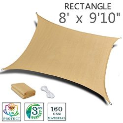 "SUNNY GUARD 8'x 9'10"" Sand Rectangle Sun Shade Sail UV Block for Outdoor Patio ..."