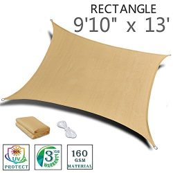 "SUNNY GUARD 9'10"" x 13′ Sand Rectangle Sun Shade Sail UV Block for Outdoor Pat ..."