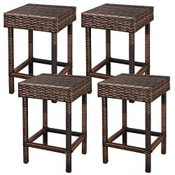 F2C Brown Wicker Barstool All Weather Dining Chairs Outdoor Patio Furniture Bar Stools (Set of 4 ...