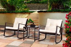 Bruce Furniture Outdoor Patio Garden Furniture Bistro Sets All-Weather Conversation Set Wicker R ...