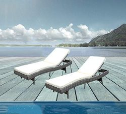 Do4U Adjustable Patio Furniture Rattan Wicker Chaise Lounge Chair Sofa Couch Bed with Cushion (7 ...