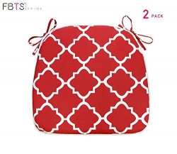 FBTS Prime Outdoor Chair Cushions (Set of 2) 16×17 Inches Patio Seat Cushions Red Square Ch ...