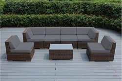 Ohana Outdoor Patio Sofa Sectional Wicker Furniture Mixed Brown 7pc Couch Set with Free Patio co ...