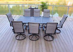 9pc Cast Aluminum Swivel Sling Rocker Patio Dining Furniture Set – Black
