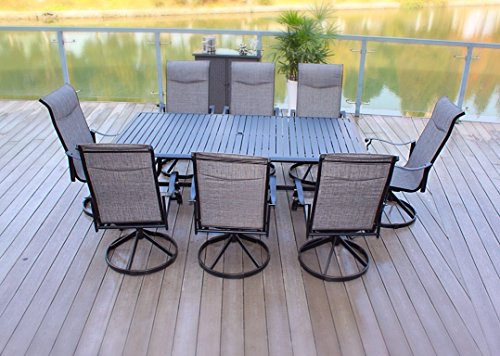 9pc Cast Aluminum Swivel Sling Rocker Patio Dining