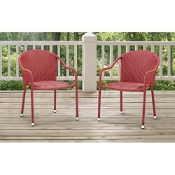 Crosley Furniture Palm Harbor Outdoor Wicker Stackable Chairs – Red (Set of 2)