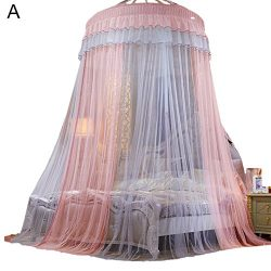 Samber Colorblocking Dome Bed Canopy Princess Queen Mosquito Net Bed Tent Floor-Length Curtain(A)