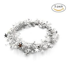 3PCS Wire Star Garland,Christmas Decorations Party Accessory,25 Ft x 3 (Silver)