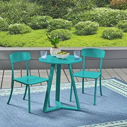 Great Deal Furniture Larissa Outdoor Iron Bistro Set, Matte Teal