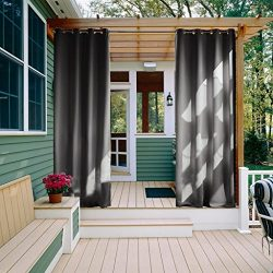 NICETOWN 95 Long Outdoor Curtain Panel – Thermal Insulated Ring Top Blackout Outdoor Indoo ...