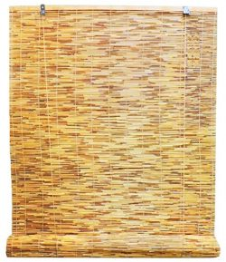 Radiance 0360486 Natural Reed Woven Light Filtering Roll Up Window Blind, 48-Inch Wide by 72-Inc ...