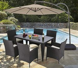 Do4U 7PCS Patio Wicker Rattan Garden Dinning Set Rectangle Table with Glass and 6 Chairs Outdoor ...