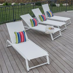 Mesa Outdoor White Mesh Chaise Lounge with White Finished Aluminum Frame (Set of 4)